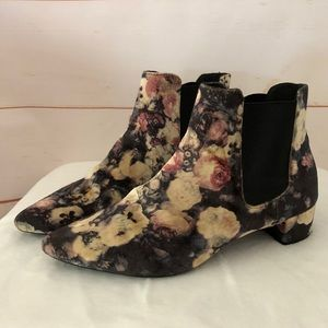 TOPSHOP velvet floral ANKLE BOOTS booties